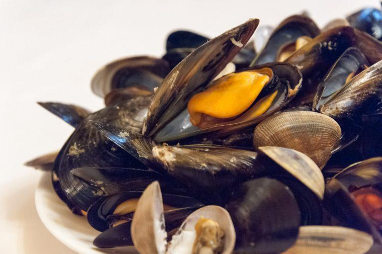 Pica-pica de pescado y marisco (mejillones al vapor)